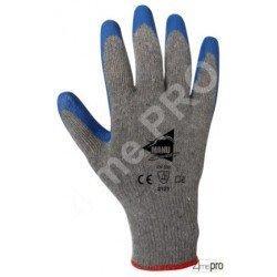 Guantes de manutención - látex azul en soporte polialgodón gris reciclado - Norma EN 388 2121
