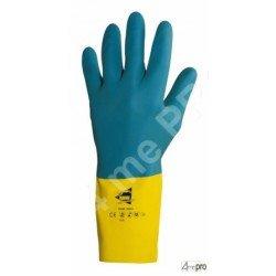 Guantes de protección química 32cm - látex y neopreno flocado algodón - normas EN 388 4121 / EN 374