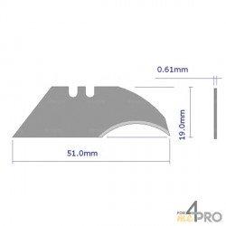 Hojas de repuesto forma hoz para cuchillo de seguridad trapecio 50 mm
