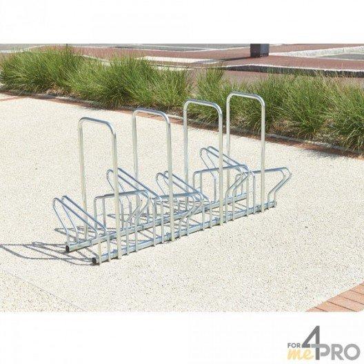 Aparcabicicletas de suelo de 2 niveles cara a cara con arcos antirrobo - 6, 8, 10 o 20 bicicletas