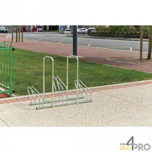 Aparcabicicletas de suelo de 2 niveles lado a lado con arcos antirrobo - 3, 5, 6, 8 o 10 bicicletas