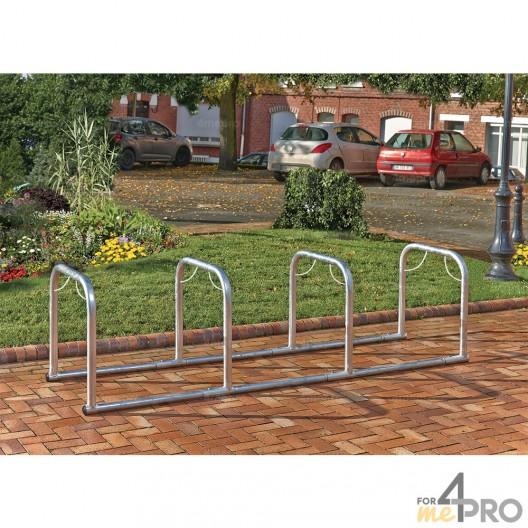 Soporte para bicicletas en línea con 4 arcos