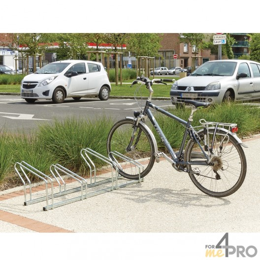 Aparcabicicletas de suelo de 2 niveles lado a lado - 4, 6 o 8 bicicletas