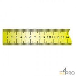 Cinta métrica plana de acero lacado amarillo adhesivo 10 m x 13 mm