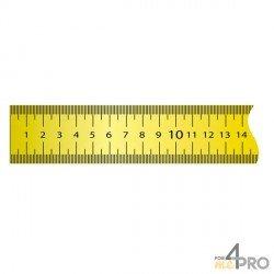 Cinta métrica plana de acero lacado amarillo revestimiento nylon adhesiva 5 m x 13 mm