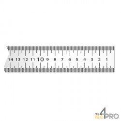 Cinta métrica plana de acero lacado blanco graduación derecha a izquierda adhesiva 5 m x 13 mm