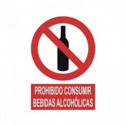 Señal Prohibido consumir bebidas alcohólicas