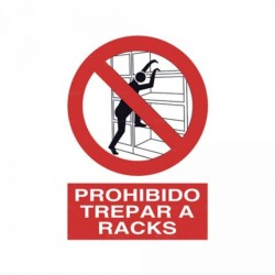 Señal Prohibido trepar a racks