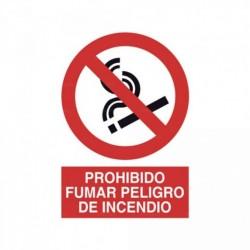 Señal Prohibido fumar peligro de incendio