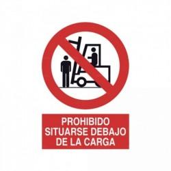 Señal Prohibido situarse debajo de la carga