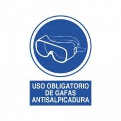 Señal Uso obligatorio de gafas antisalpicadura