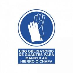 Señal Uso obligatorio de guantes para manipular hierro o chapa