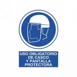 Señal Uso obligatorio de casco y pantalla protectora