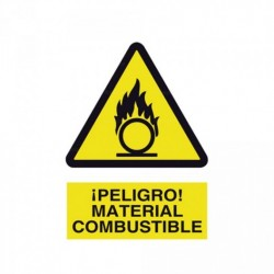 Señal ¡Peligro! Material combustible
