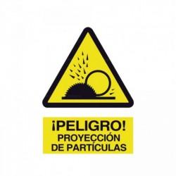 Señal ¡Peligro! Proyección de partículas