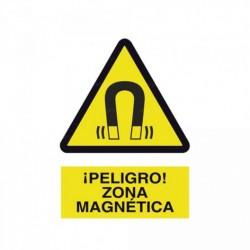 Señal ¡Peligro! Zona magnética