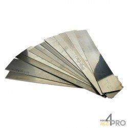 Hojas de acero 50 x 300 mm desde 0,02 hasta 1,00 mm