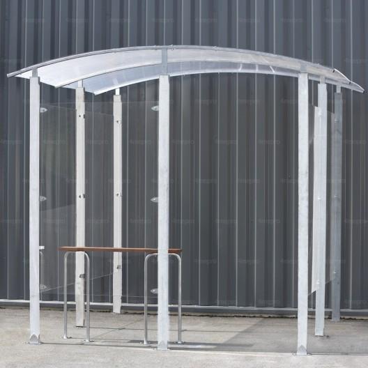 Marquesina para Fumadores contra una pared de metal galvanizado 4m²