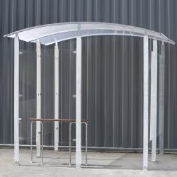 Marquesina para Fumadores contra una pared de metal galvanizado 6m²