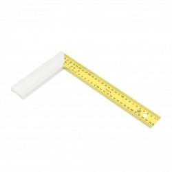 Escuadra de carpintero con hoja de acero inoxidable amarilla 30x16,5 cm