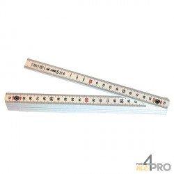 Metro plegable de fibra de vidrio blanco 10 segmentos - 2m