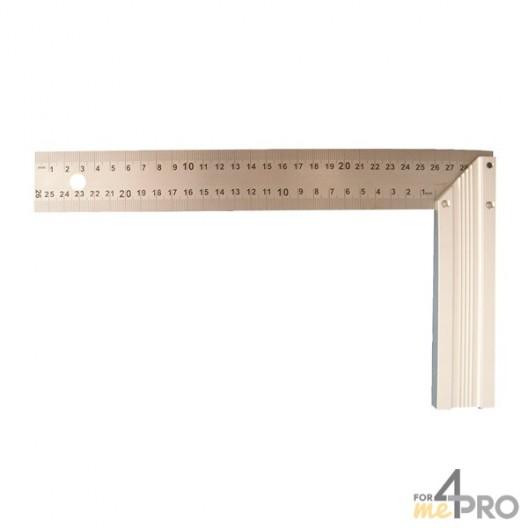 Escuadra de carpintero estándar con hoja de acero inoxidable grabada 30x16,5 cm