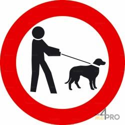 Señal prohibido a los perros incluso con correa 1