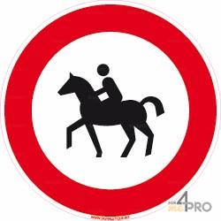 Señal jinetes y caballos prohibidos 2