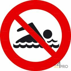 Señal redondo baño prohibido
