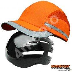 Gorra de seguridad Todas estaciones naranja fosforito + tiras grises reflectantes NF EN812 A1