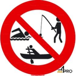 Señal pesca, baño y barcas prohibidos